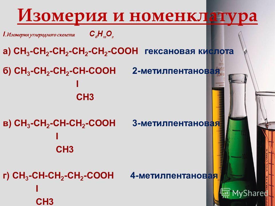 Формулы и названия некоторых карбоновых кислот Формула Тривиальное название Международное название Название радикала НСООНМуравьиная МетановаяФормиат СН 3 СООНУксусная ? Ацетат СН 3 СН 2 СООН Пропионовая ? Пропионат СН 3 ( СН 2)2 СООН Масляная ? Бути