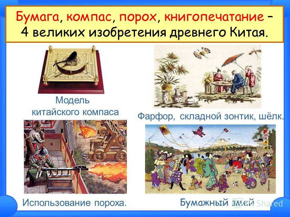 Бумага, компас, порох, книгопечатание – 4 великих изобретения древнего Китая. Модель китайского компаса Фарфор, складной зонтик, шёлк. Использование пороха. Бумажный змей