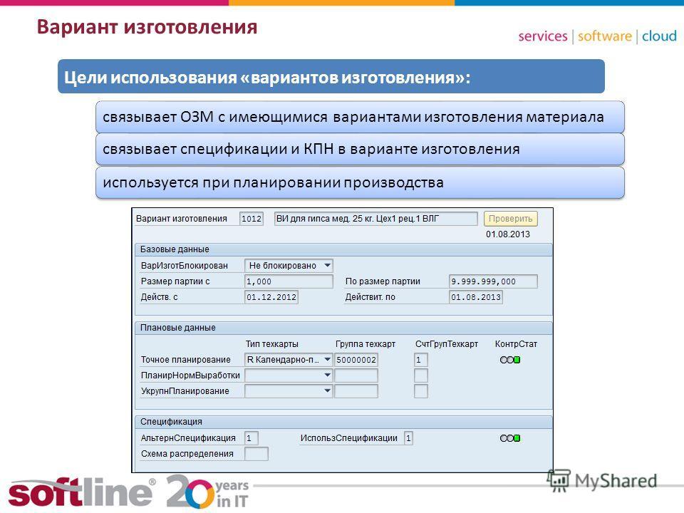 8 (800) 100 00 23www.softline.ruinfo@softline.ru Вариант изготовления связывает ОЗМ с имеющимися вариантами изготовления материаласвязывает спецификации и КПН в варианте изготовленияиспользуется при планировании производства Цели использования «вариа