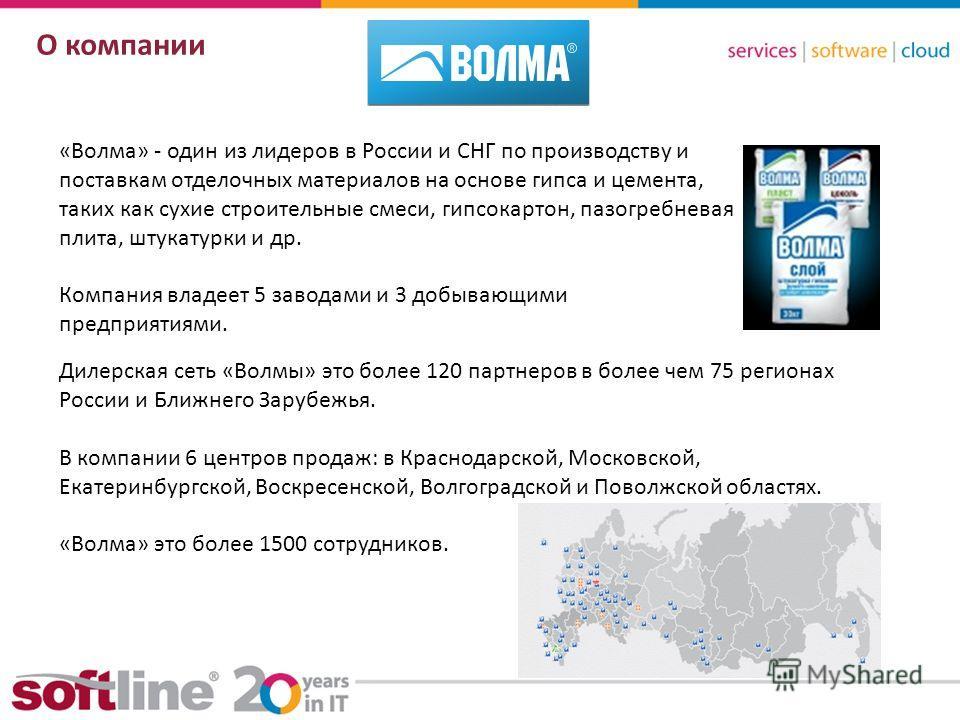 8 (800) 100 00 23www.softline.ruinfo@softline.ru О компании «Волма» - один из лидеров в России и СНГ по производству и поставкам отделочных материалов на основе гипса и цемента, таких как сухие строительные смеси, гипсокартон, пазогребневая плита, шт