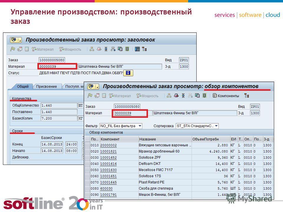 8 (800) 100 00 23www.softline.ruinfo@softline.ru Управление производством: производственный заказ