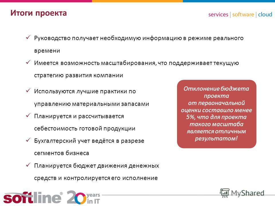 8 (800) 100 00 23www.softline.ruinfo@softline.ru Итоги проекта Руководство получает необходимую информацию в режиме реального времени Имеется возможность масштабирования, что поддерживает текущую стратегию развития компании Используются лучшие практи