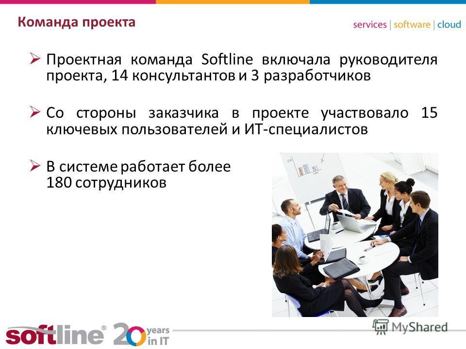 8 (800) 100 00 23www.softline.ruinfo@softline.ru Команда проекта Проектная команда Softline включала руководителя проекта, 14 консультантов и 3 разработчиков Со стороны заказчика в проекте участвовало 15 ключевых пользователей и ИТ-специалистов В сис