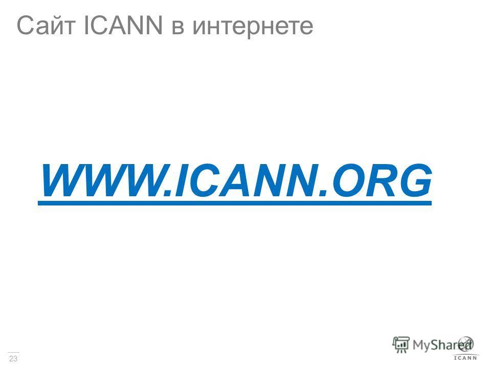 23 Сайт ICANN в интернете WWW.ICANN.ORG