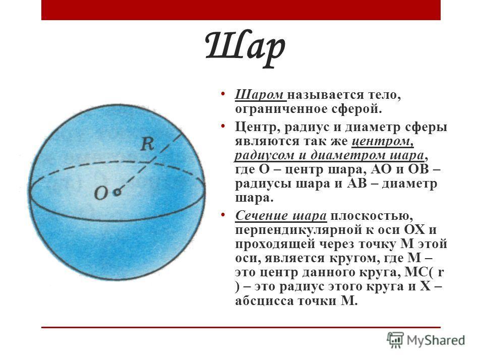 Шар Шаром называется тело, ограниченное сферой. Центр, радиус и диаметр сферы являются так же центром, радиусом и диаметром шара, где О – центр шара, АО и ОВ – радиусы шара и АВ – диаметр шара. Сечение шара плоскостью, перпендикулярной к оси ОХ и про