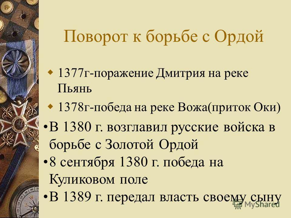 Поворот к борьбе с Ордой 1377 г-поражение Дмитрия на реке Пьянь 1378 г-победа на реке Вожа(приток Оки) В 1380 г. возглавил русские войска в борьбе с Золотой Ордой 8 сентября 1380 г. победа на Куликовом поле В 1389 г. передал власть своему сыну