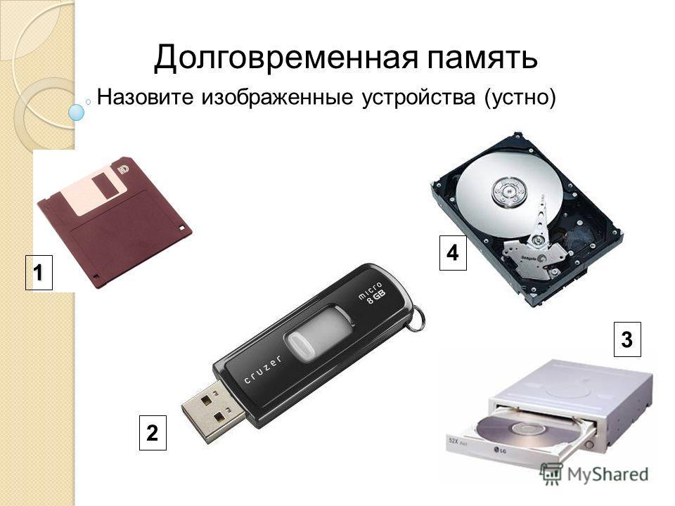 Назовите изображенные устройства (устно) 1 2 4 3 Долговременная память