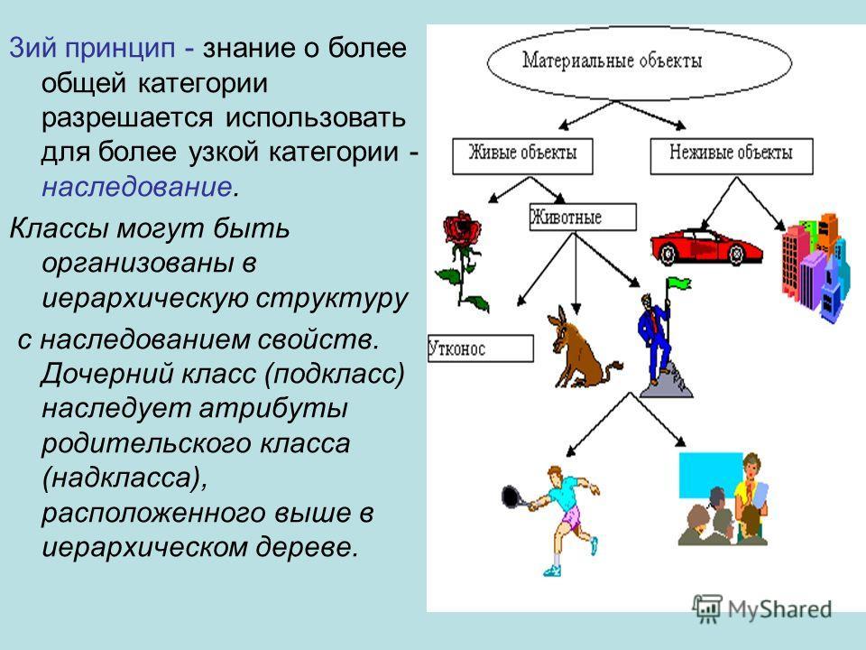 3 ий принцип - знание о более общей категории разрешается использовать для более узкой категории - наследование. Классы могут быть организованы в иерархическую структуру с наследованием свойств. Дочерний класс (подкласс) наследует атрибуты родительск