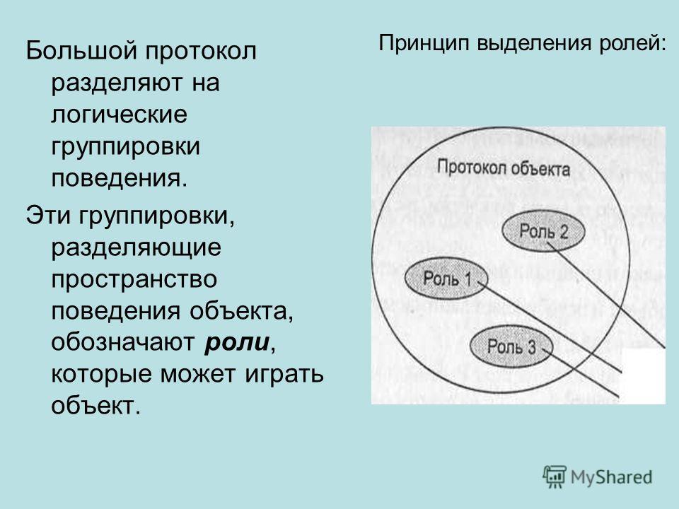 Большой протокол разделяют на логические группировки поведения. Эти группировки, разделяющие пространство поведения объекта, обозначают роли, которые может играть объект. Принцип выделения ролей: