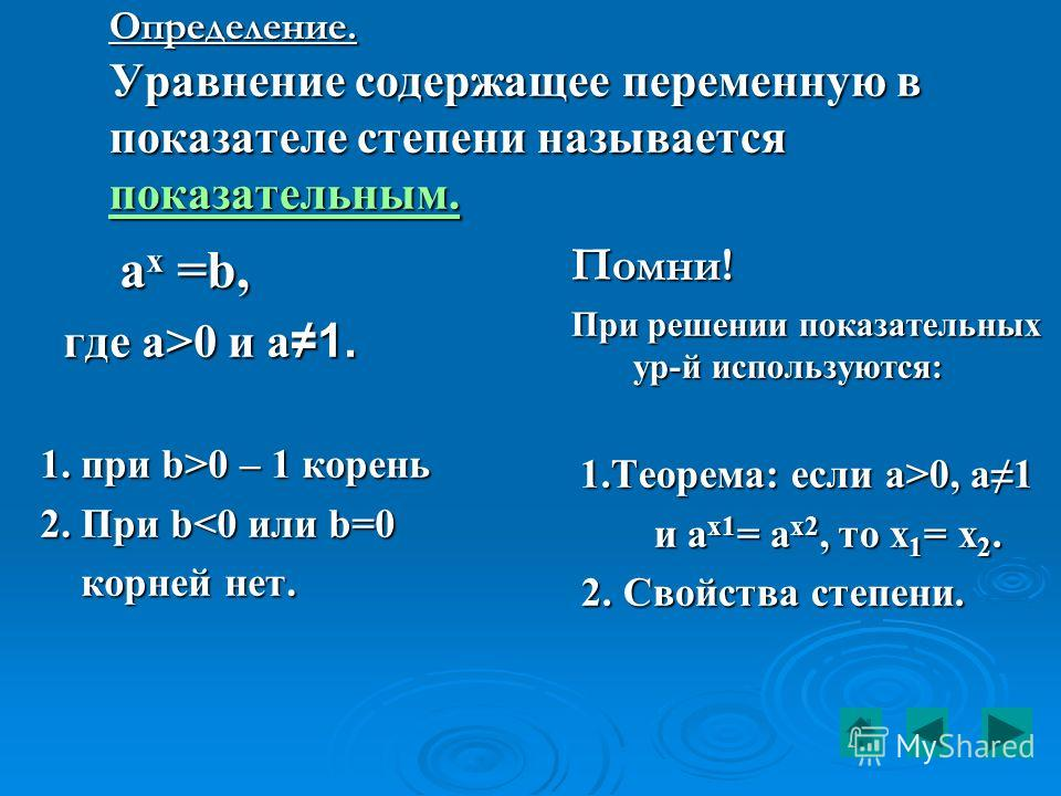 Определение. Уравнение содержащее переменную в показателе степени называется показательным. показательным. a x =b, a x =b, где a>0 и a1. где a>0 и a1. 1. при b>0 – 1 корень 2. При b0, a1 1.Теорема: если a>0, a1 и a х 1 = a х 2, то х 1 = х 2. и a х 1