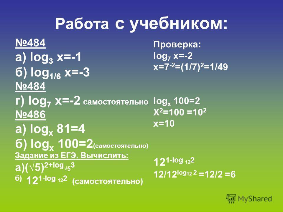 Работа с учебником: 484 а) log 3 х=-1 б) log 1/6 х=-3 484 г) log 7 х=-2 самостоятельно 486 а) log х 81=4 б) log х 100=2 (самостоятельно) Задание из ЕГЭ. Вычислить: а)(5) 2+log5 3 б) 12 1-log 12 2 (самостоятельно) Проверка: log 7 х=-2 х=7 -2 =(1/7) 2