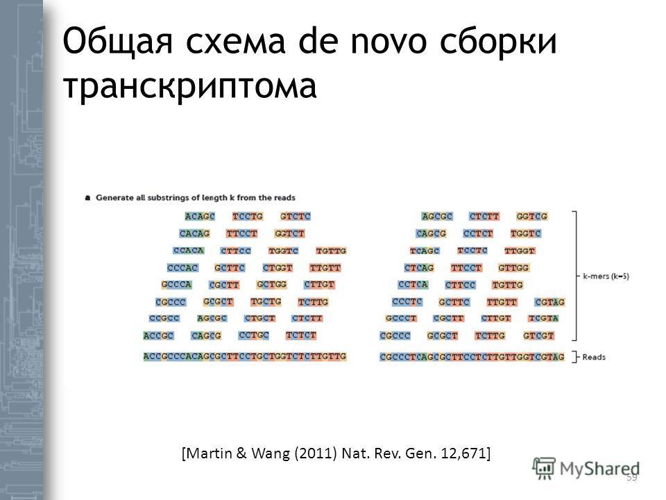 Общая схема de novo сборки транскриптома 59 [Martin & Wang (2011) Nat. Rev. Gen. 12,671]