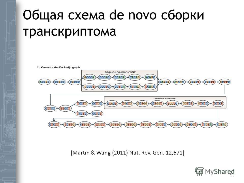 Общая схема de novo сборки транскриптома 60 [Martin & Wang (2011) Nat. Rev. Gen. 12,671]