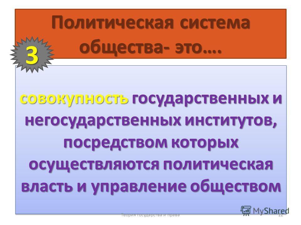 Политическая система общества- это…. совокупность государственных и негосударственных институтов, посредством которых осуществляются политическая власть и управление обществом Теория государства и права 12 3