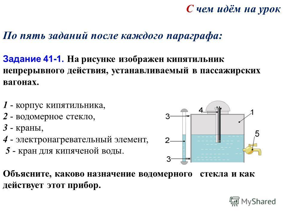 По пять заданий после каждого параграфа: Задание 41-1. На рисунке изображен кипятильник непрерывного действия, устанавливаемый в пассажирских вагонах. 1 - корпус кипятильника, 2 - водомерное стекло, 3 - краны, 4 - электронагревательный элемент, 5 - к