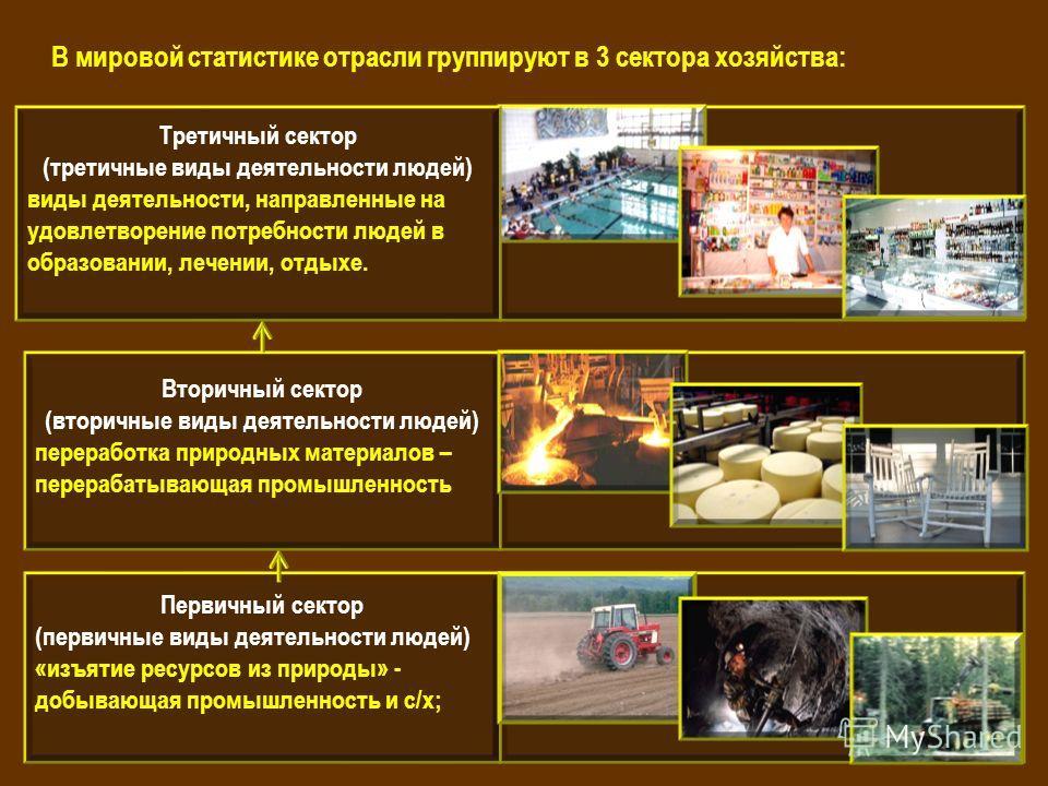 Первичный сектор (первичные виды деятельности людей) «изъятие ресурсов из природы» - добывающая промышленность и с/х; Вторичный сектор (вторичные виды деятельности людей) переработка природных материалов – перерабатывающая промышленность Третичный се