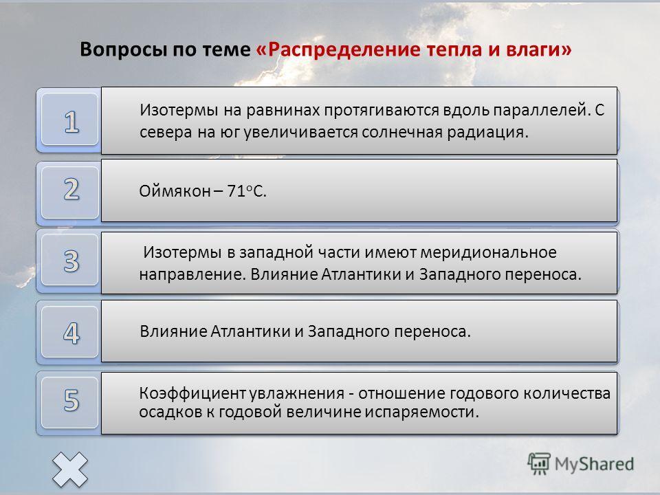Как располагаются изотермы июля? Почему? Где находится полюс холода Евразии? Как располагаются изотермы января в западной части? Назовите причины, влияющие на распределение температуры в западной части. Почему континентальность климата увеличивается
