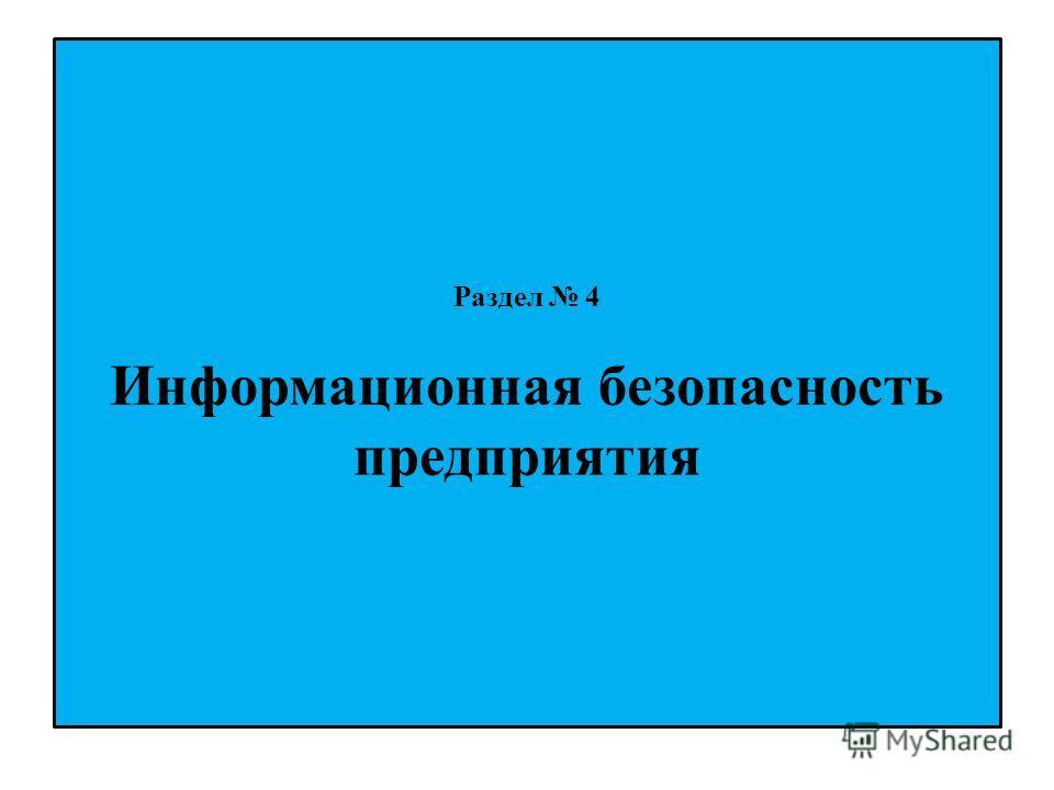 Раздел 4 Информационная безопасность предприятия