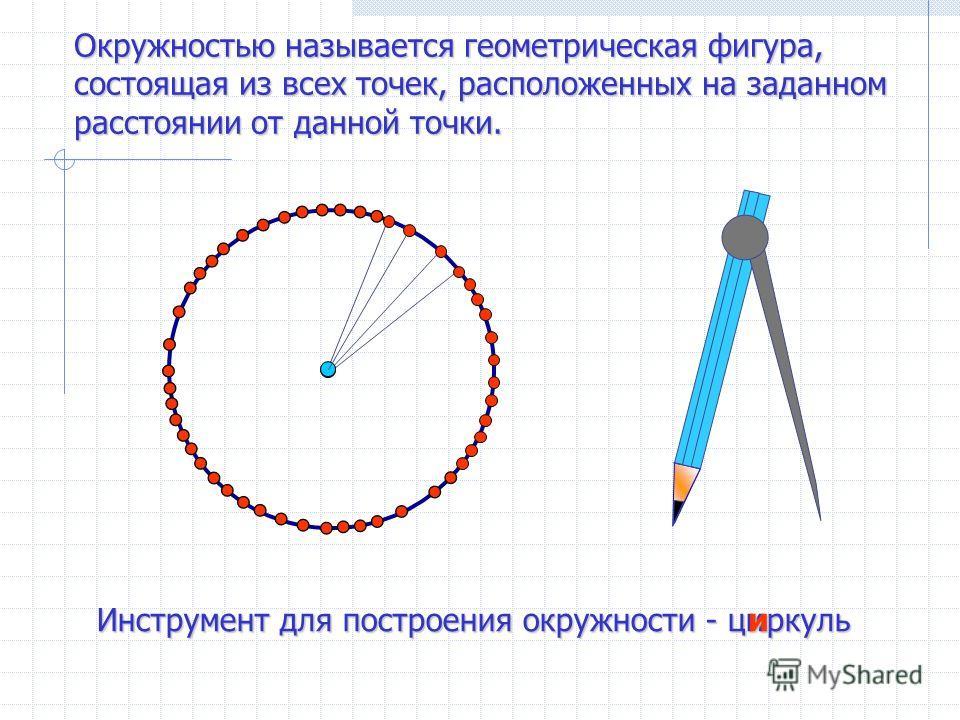 Окружностью называется геометрическая фигура, состоящая из всех точек, расположенных на заданном расстоянии от данной точки. Инструмент для построения окружности - циркуль и