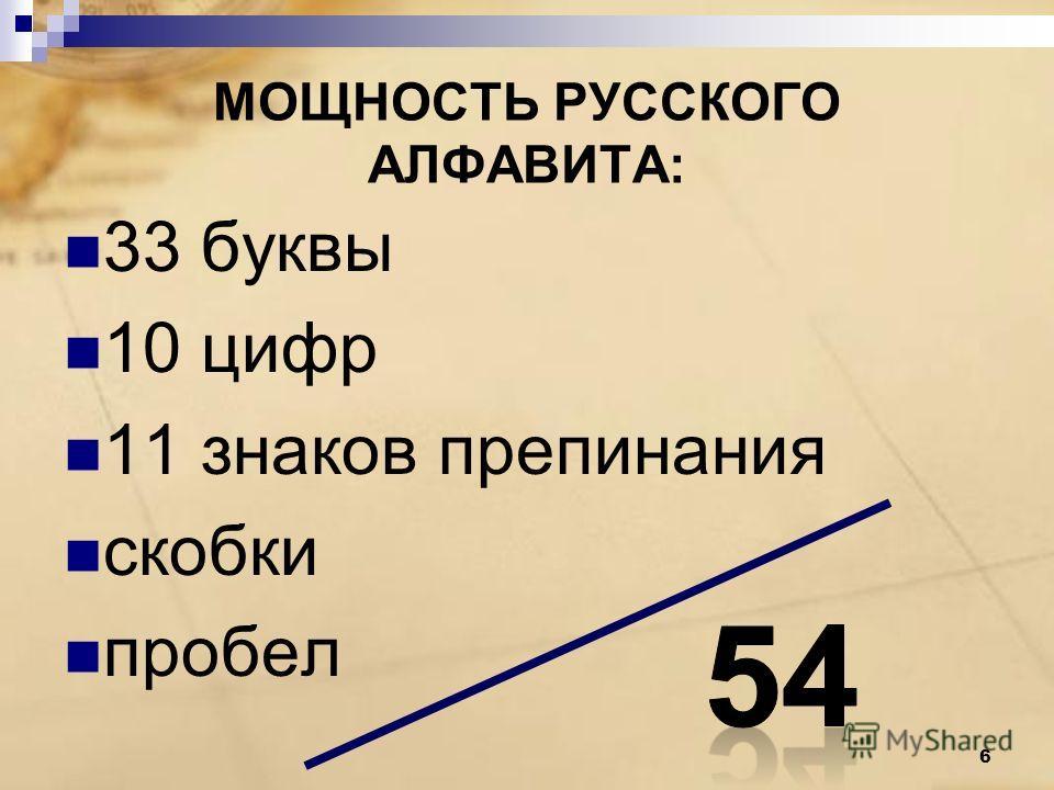 МОЩНОСТЬ РУССКОГО АЛФАВИТА: 33 буквы 10 цифр 11 знаков препинания скобки пробел 6