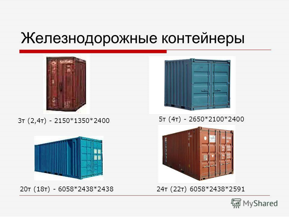 Железнодорожные контейнеры 3 т (2,4 т) - 2150*1350*2400 5 т (4 т) - 2650*2100*2400 20 т (18 т) - 6058*2438*243824 т (22 т) 6058*2438*2591