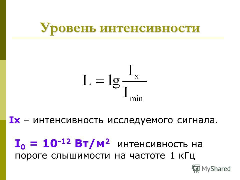 Уровень интенсивности I 0 = 10 -12 Вт/м 2 интенсивность на пороге слышимости на частоте 1 к Гц Ix – интенсивность исследуемого сигнала.