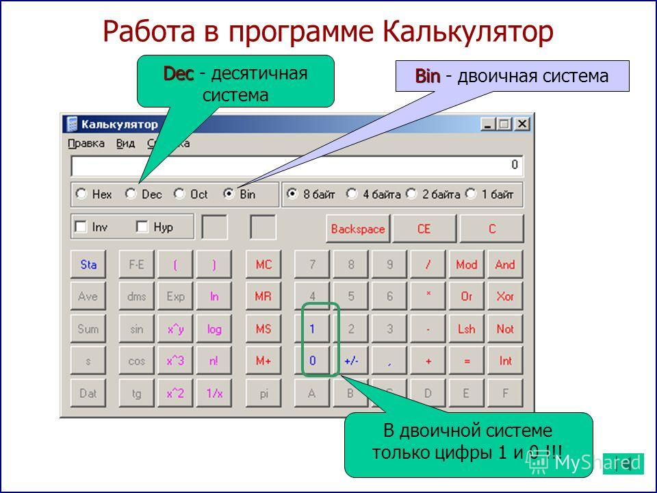 Работа в программе Калькулятор Bin Bin - двоичная система Dec Dec - десятичная система В двоичной системе только цифры 1 и 0 !!!