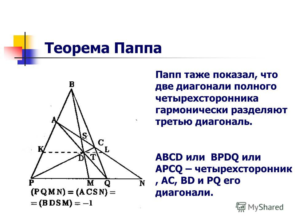 Папп таже показал, что две диагонали полного четырехсторонника гармонически разделяют третью диагональ. ABCD или BPDQ или APCQ – четырехсторонник, AC, BD и PQ его диагонали. Теорема Паппа