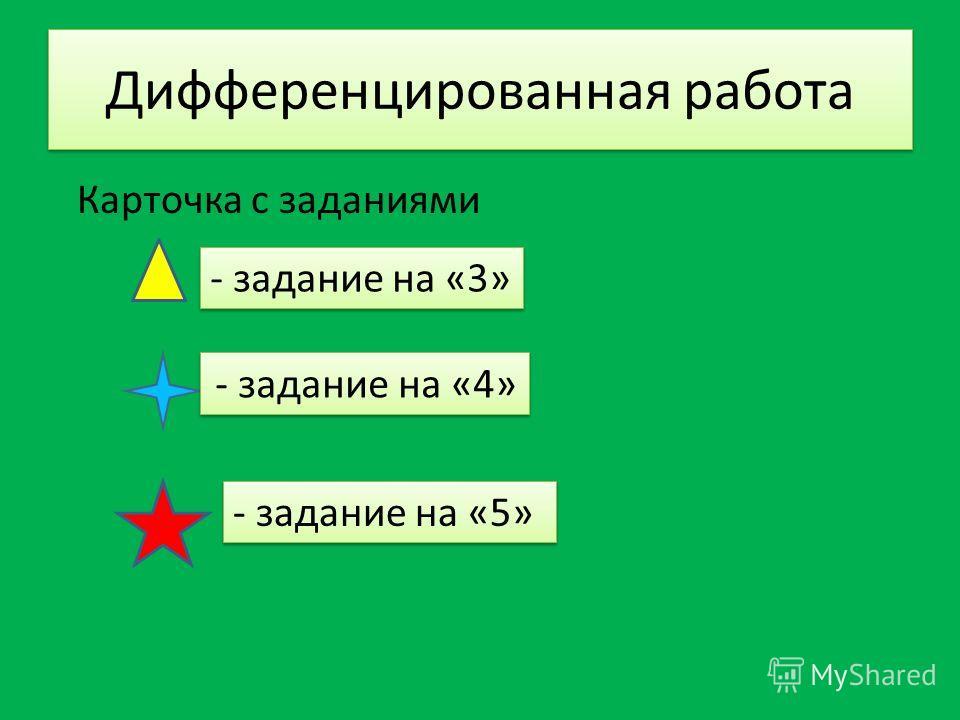 Дифференцированная работа Карточка с заданиями - задание на «4» - задание на «5» - задание на «3»