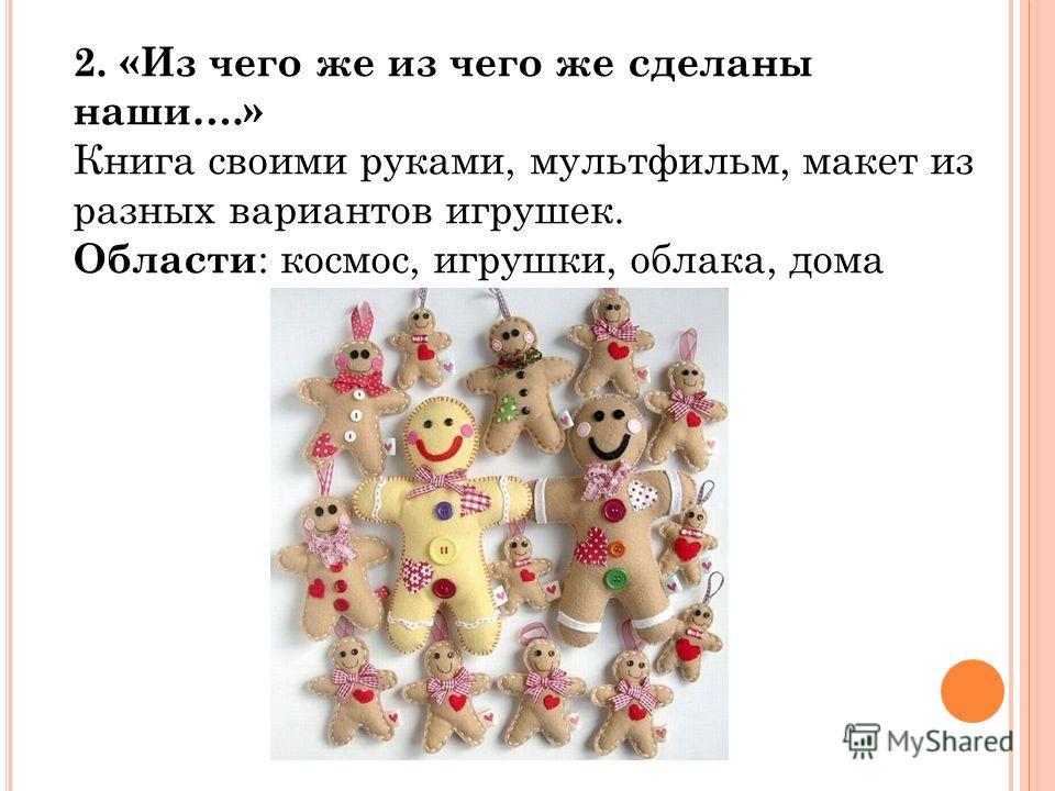 2. «Из чего же из чего же сделаны наши….» Книга своими руками, мультфильм, макет из разных вариантов игрушек. Области : космос, игрушки, облака, дома