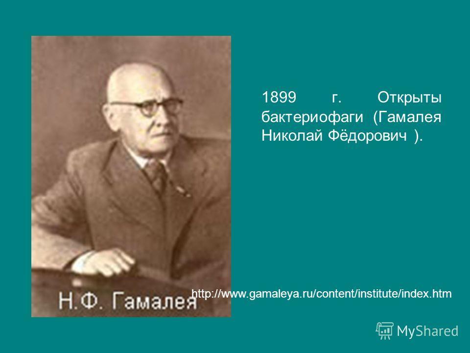1899 г. Открыты бактериофаги (Гамалея Николай Фёдорович ). http://www.gamaleya.ru/content/institute/index.htm
