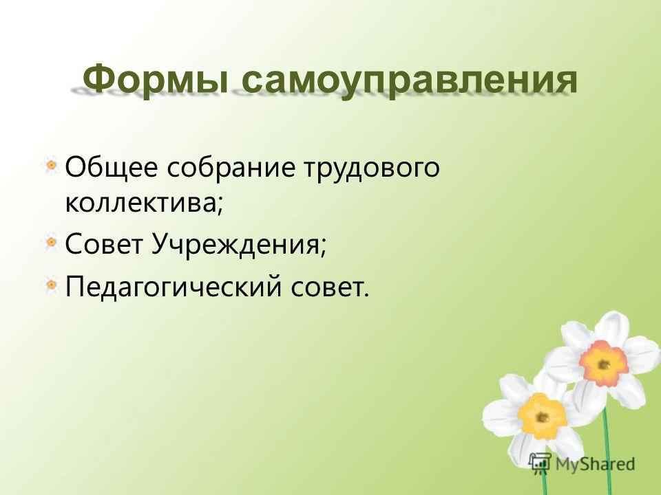 Формы самоуправления Общее собрание трудового коллектива; Совет Учреждения; Педагогический совет.