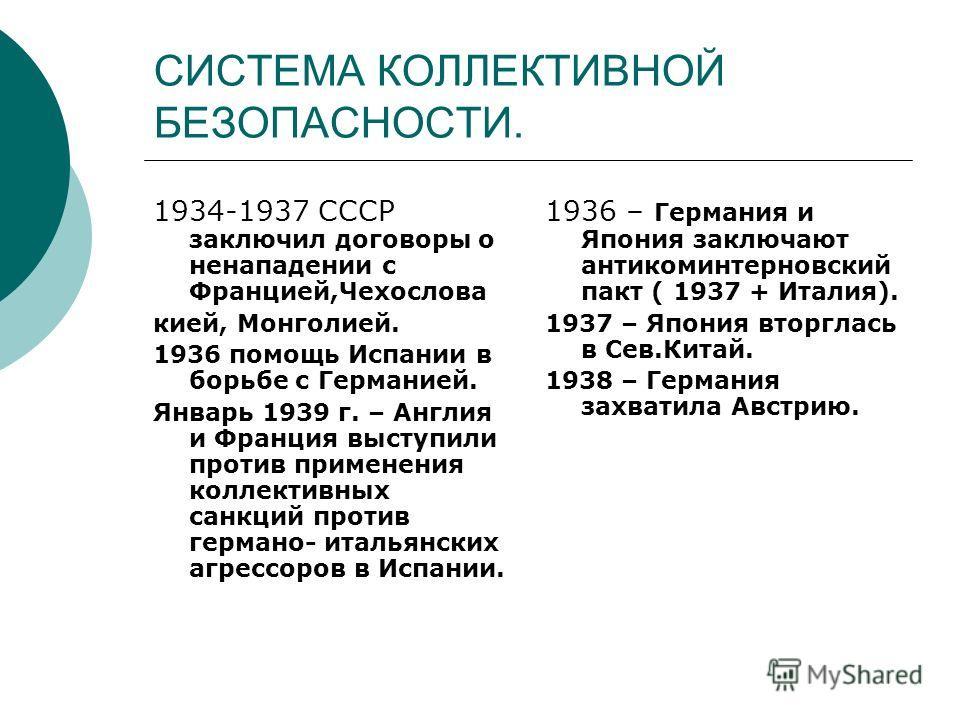 СИСТЕМА КОЛЛЕКТИВНОЙ БЕЗОПАСНОСТИ. 1934-1937 СССР заключил договоры о ненападении с Францией,Чехослова кией, Монголией. 1936 помощь Испании в борьбе с Германией. Январь 1939 г. – Англия и Франция выступили против применения коллективных санкций проти