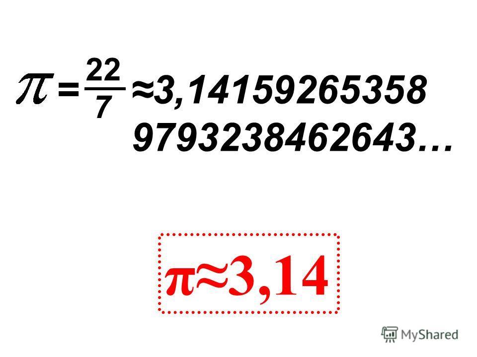 3,14159265358 9793238462643… π3,14 = 22 7