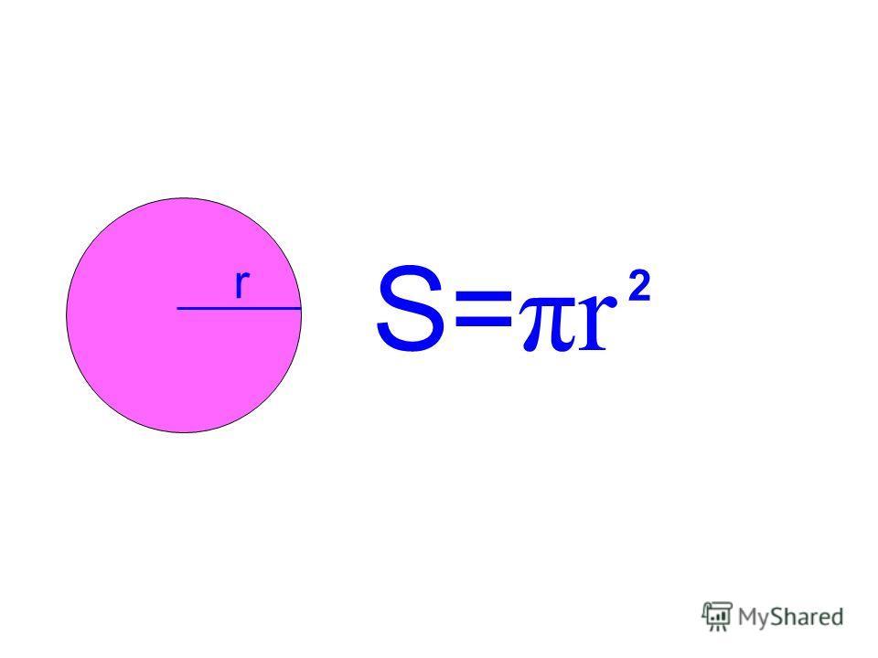 r S= πr 2