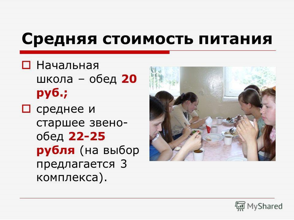 Средняя стоимость питания Начальная школа – обед 20 руб.; среднее и старшее звено- обед 22-25 рубля (на выбор предлагается 3 комплекса).
