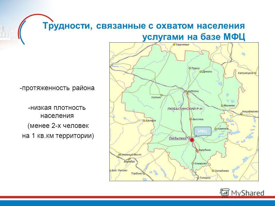 Трудности, связанные с охватом населения услугами на базе МФЦ -протяженность района -низкая плотность населения (менее 2-х человек на 1 кв.км территории) МФЦ