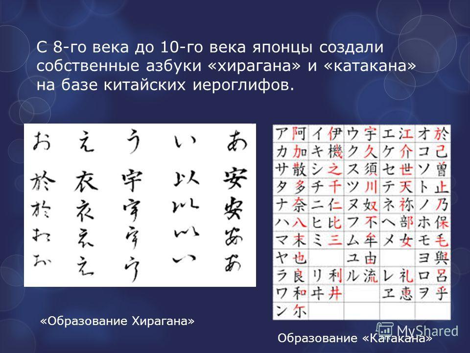 С 8-го века до 10-го века японцы создали собственные азбуки «хирагана» и «катакана» на базе китайских иероглифов. «Образование Хирагана» Образование «Катакана»