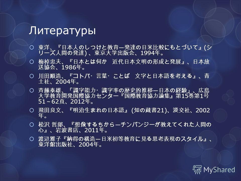 Литературы ( ) 1994 1986 2004 15 1 51 62 2012 ( 21) 2002 2011 2004