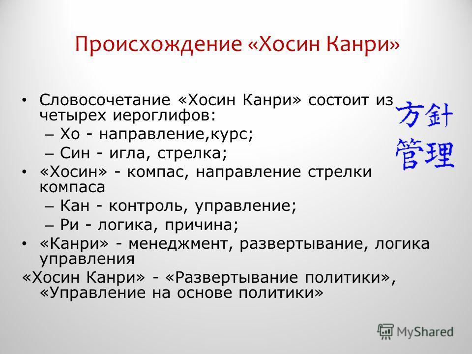 Происхождение «Хосин Канри» Словосочетание «Хосин Канри» состоит из четырех иероглифов: – Хо - направление,курс; – Син - игла, стрелка; «Хосин» - компас, направление стрелки компаса – Кан - контроль, управление; – Ри - логика, причина; «Канри» - мене