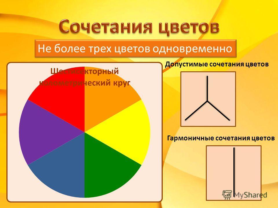 Допустимые сочетания цветов Гармоничные сочетания цветов Не более трех цветов одновременно