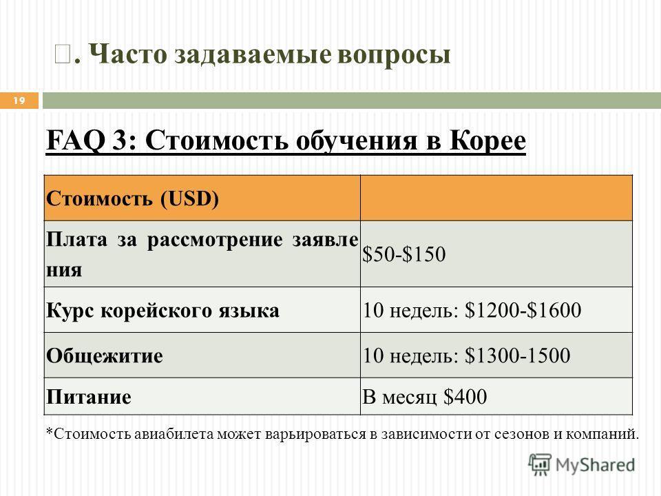 Стоимость (USD) Плата за рассмотрение заявле ния $50-$150 Курс корейского языка 10 недель: $1200-$1600 Общежитие 10 недель: $1300-1500 ПитаниеВ месяц $400 *Стоимость авиабилета может варьироваться в зависимости от сезонов и компаний. FAQ 3: Стоимость