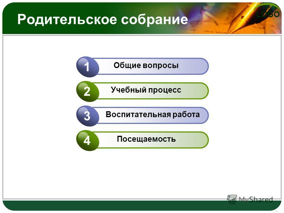 LOGO Родительское собрание Общие вопросы 1 Учебный процесс 2 Воспитательная работа 3 Посещаемость 4