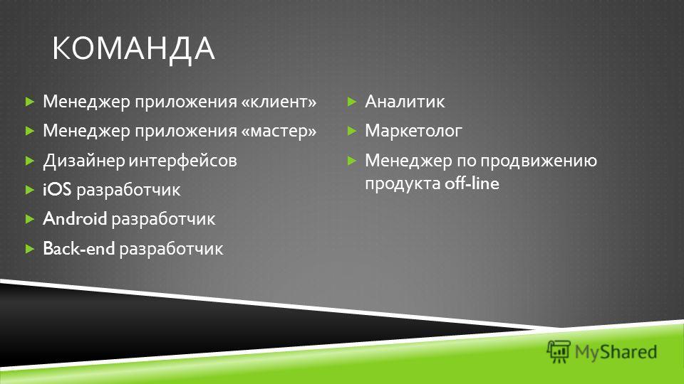 КОМАНДА Менеджер приложения « клиент » Менеджер приложения « мастер » Дизайнер интерфейсов iOS разработчик Android разработчик Back-end разработчик Аналитик Маркетолог Менеджер по продвижению продукта off-line