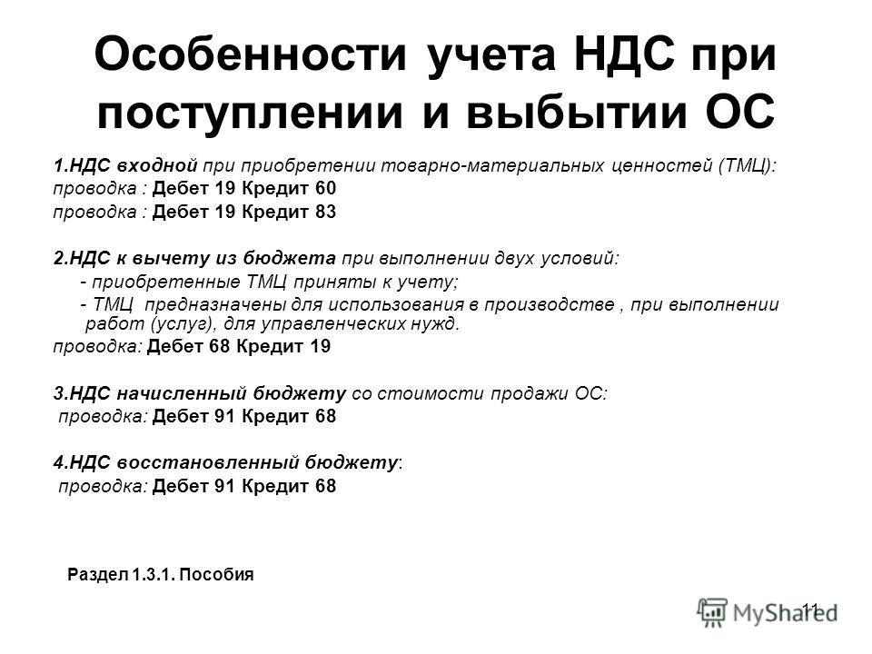 11 Особенности учета НДС при поступлении и выбытии ОС 1. НДС входной при приобретении товарно-материальных ценностей (ТМЦ): проводка : Дебет 19 Кредит 60 проводка : Дебет 19 Кредит 83 2. НДС к вычету из бюджета при выполнении двух условий: - приобрет