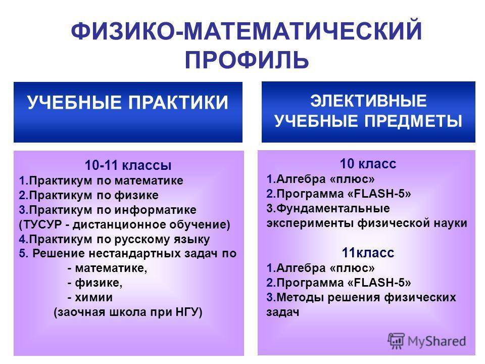 ФИЗИКО-МАТЕМАТИЧЕСКИЙ ПРОФИЛЬ УЧЕБНЫЕ ПРАКТИКИ 10-11 классы 1. Практикум по математике 2. Практикум по физике 3. Практикум по информатике (ТУСУР - дистанционное обучение) 4. Практикум по русскому языку 5. Решение нестандартных задач по - математике,