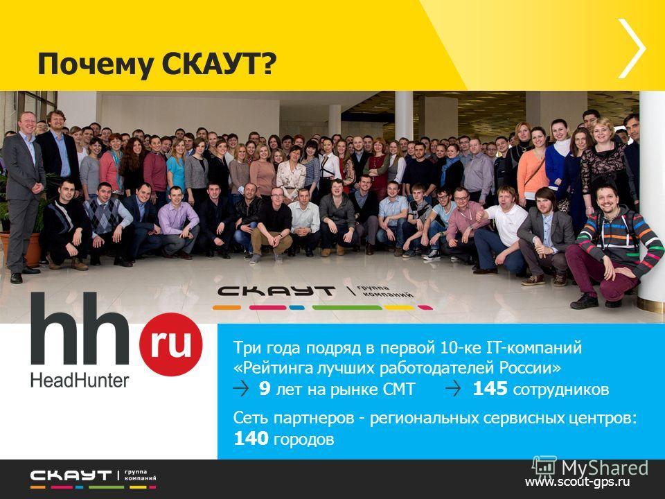 www.scout-gps.ru Почему СКАУТ? Три года подряд в первой 10-ке IT-компаний «Рейтинга лучших работодателей России» 9 лет на рынке СМТ 145 сотрудников Сеть партнеров - региональных сервисных центров: 140 городов