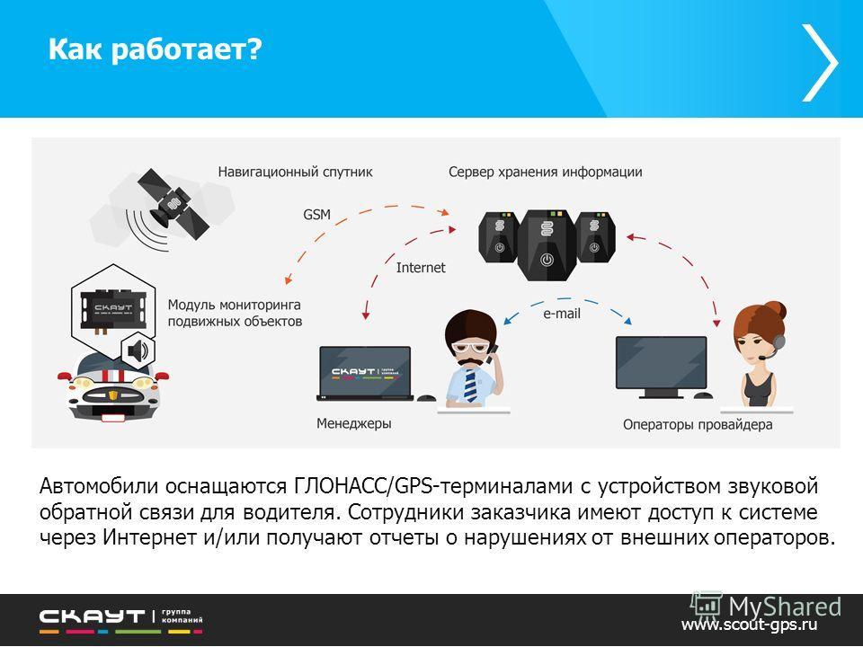 Как работает? www.scout-gps.ru Автомобили оснащаются ГЛОНАСС/GPS-терминалами с устройством звуковой обратной связи для водителя. Сотрудники заказчика имеют доступ к системе через Интернет и/или получают отчеты о нарушениях от внешних операторов.
