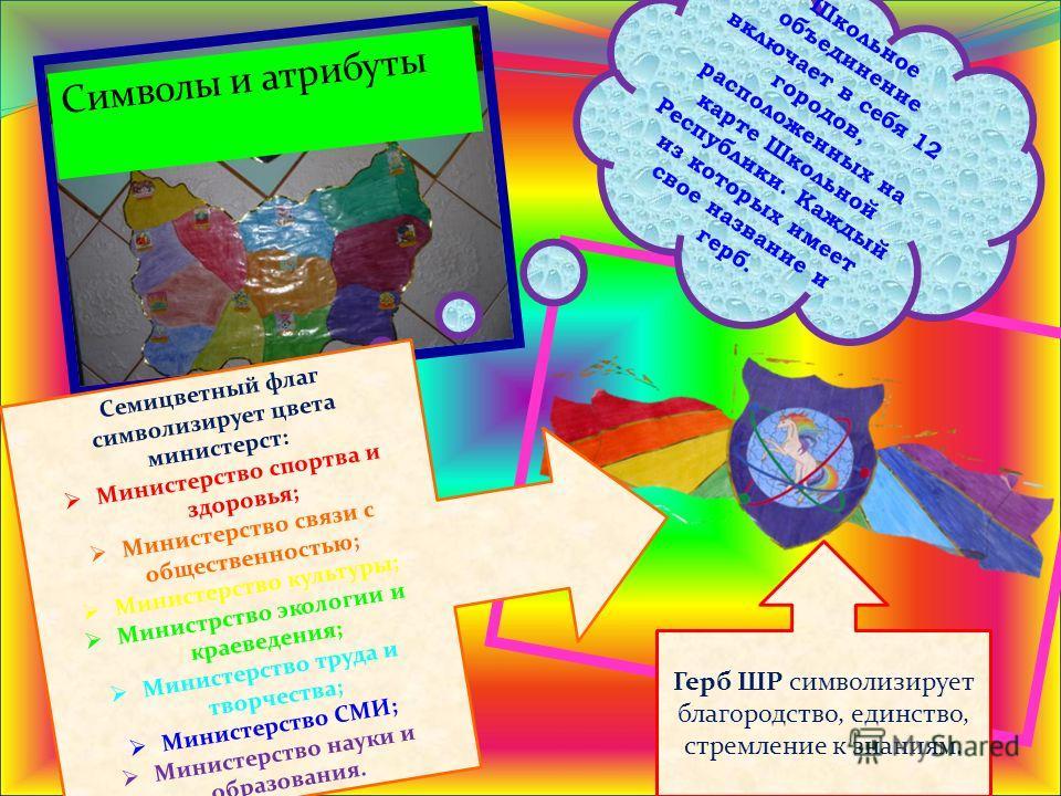 Символы и атрибуты Школьное объединение включает в себя 12 городов, расположенных на карте Школьной Республики. Каждый из которых имеет свое название и герб. Семицветный флаг символизирует цвета министерст: Министерство спортва и здоровья; Министерст