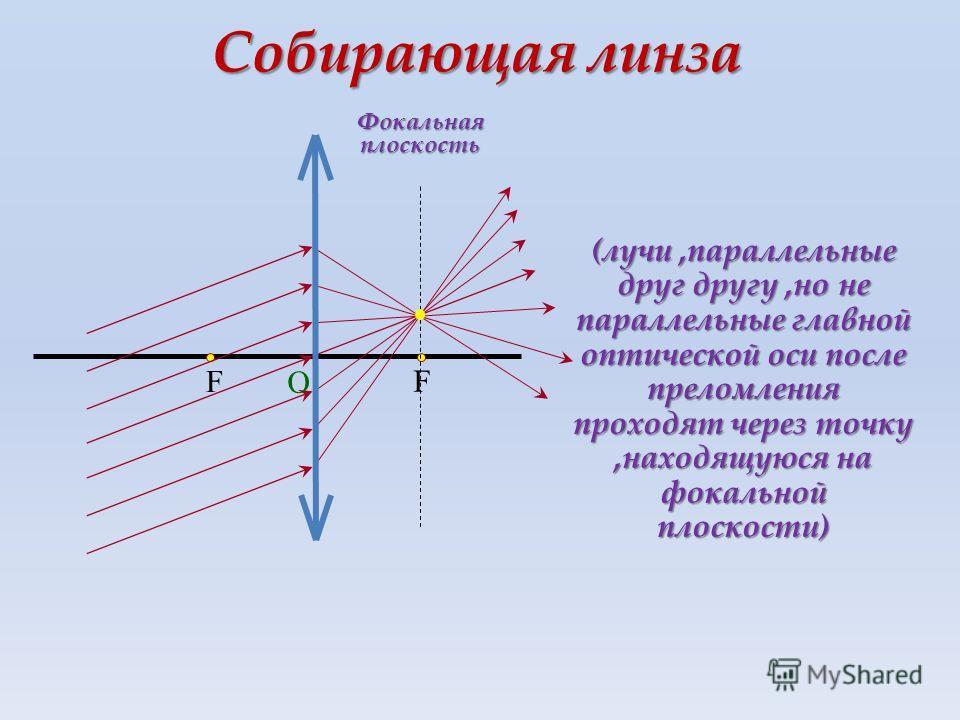 F F О Собирающая линза Фокальная плоскость (лучи,параллельные друг другу,но не параллельные главной оптической оси после преломления проходят через точку,находящуюся на фокальной плоскости)